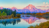 First Light on Mount Moran (Oxbow Bend)